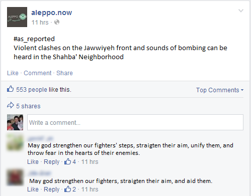 A Facebook page dedicated for delivering news on Aleppo reporting on heavy clashes.