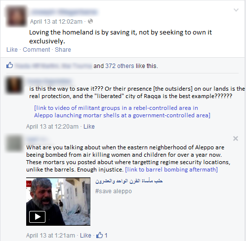 -- A debate between a commentator who is pro-government military action and another one who is opposing.