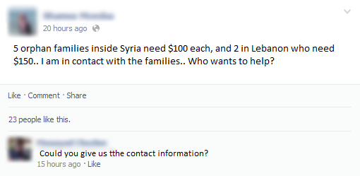 -- A volunteer working in a local charity group asking for aid through her Facebook profile.